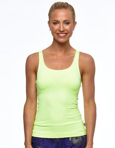 ROUND NECK BASIC SPORT SINGLET- NEON LEMON