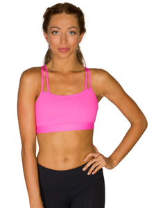 DOUBLE STRAP SUPPORT LOCALLY MADE SPORTS BRA - HOT PINK