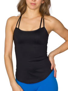 BUILT-IN BUST SUPPORT DOUBLE STRAP SPORT TANK - BLACK