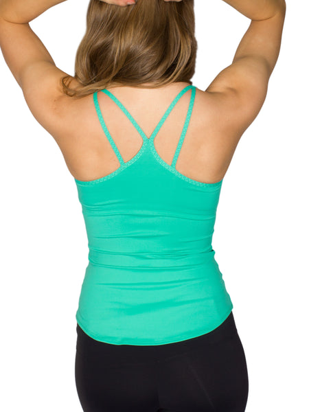 BUILT-IN BUST SUPPORT DOUBLE STRAP SPORT TANK - GREEN