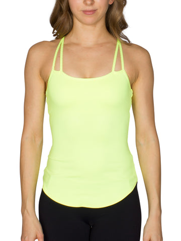 BUILT-IN BUST SUPPORT DOUBLE STRAP SPORT TANK - NEON LEMON