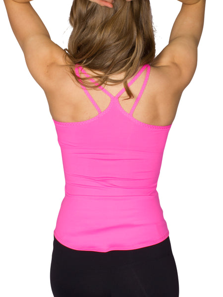 MULTI STRAP SUPPORT SINGLET - HOT PINK