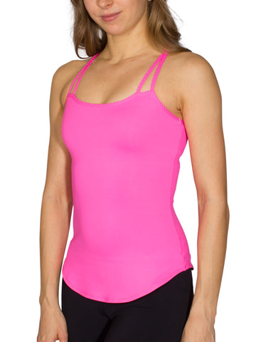 BUILT-IN BUST SUPPORT DOUBLE STRAP SPORT TANK - HOT PINK