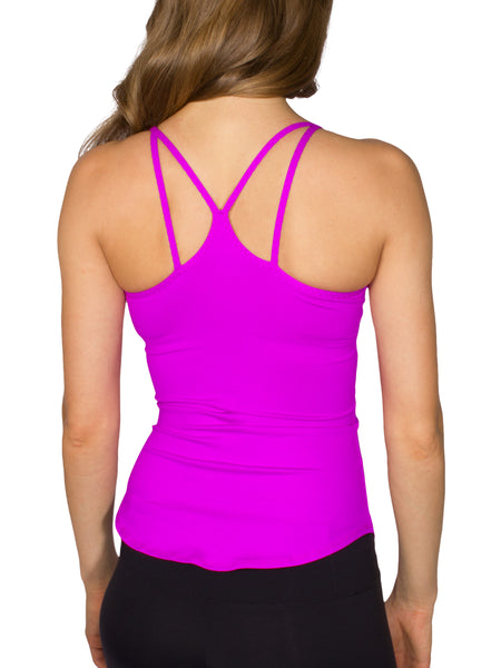 BUILT-IN BUST SUPPORT DOUBLE STRAP SPORT TANK - RASPBERRY