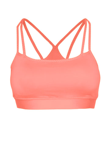 DOUBLE STRAP SUPPORT LOCALLY MADE SPORTS BRA - NEON CORAL