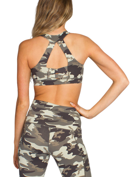PURE FIT CAMO SPORTS BRA - KHAKI