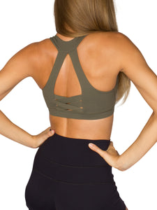 PURE FIT SPORTS BRA- KHAKI