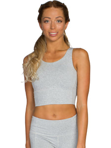 KEYHOLE ZEN FITNESS CROP - LIGHT GREY
