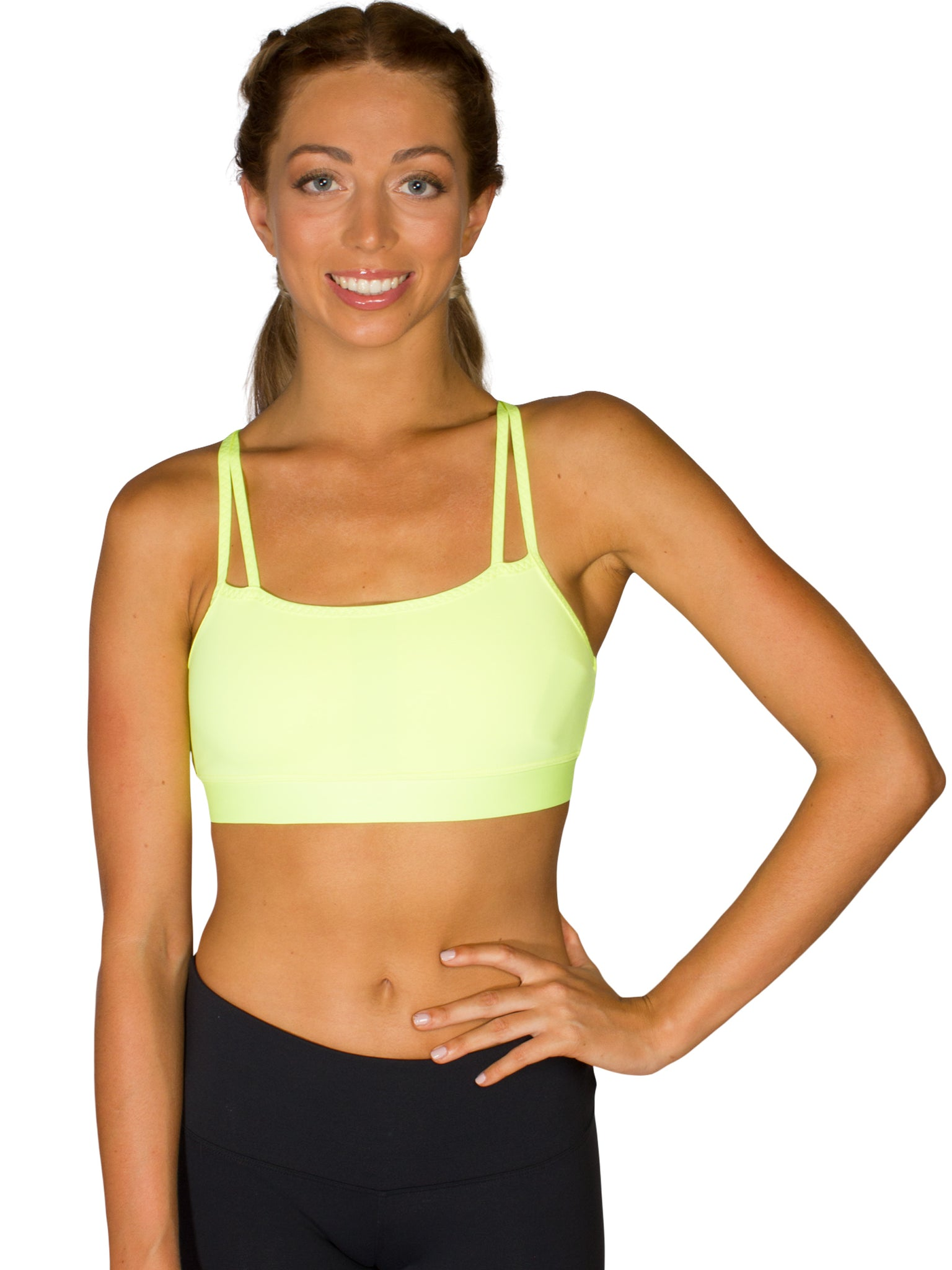 DOUBLE STRAP SUPPORT LOCALLY MADE SPORTS BRA - NEON LEMON
