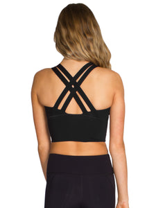 LONG LINE XX-BACK FITNESS CROP - BLACK