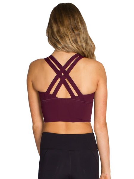 LONG LINE XX-BACK FITNESS CROP - BURGUNDY