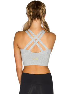 LONG LINE XX-BACK FITNESS CROP - LIGHT GREY