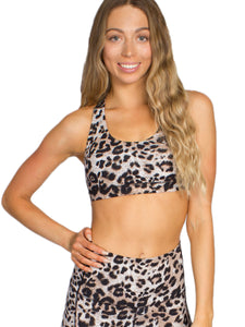 PURE FIT LEOPARD SPORTS BRA- NATURAL