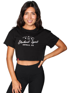 VINTAGE CROP T-SHIRT - BLACK