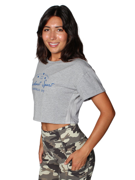 VINTAGE CROP T-SHIRT - GREY MARL