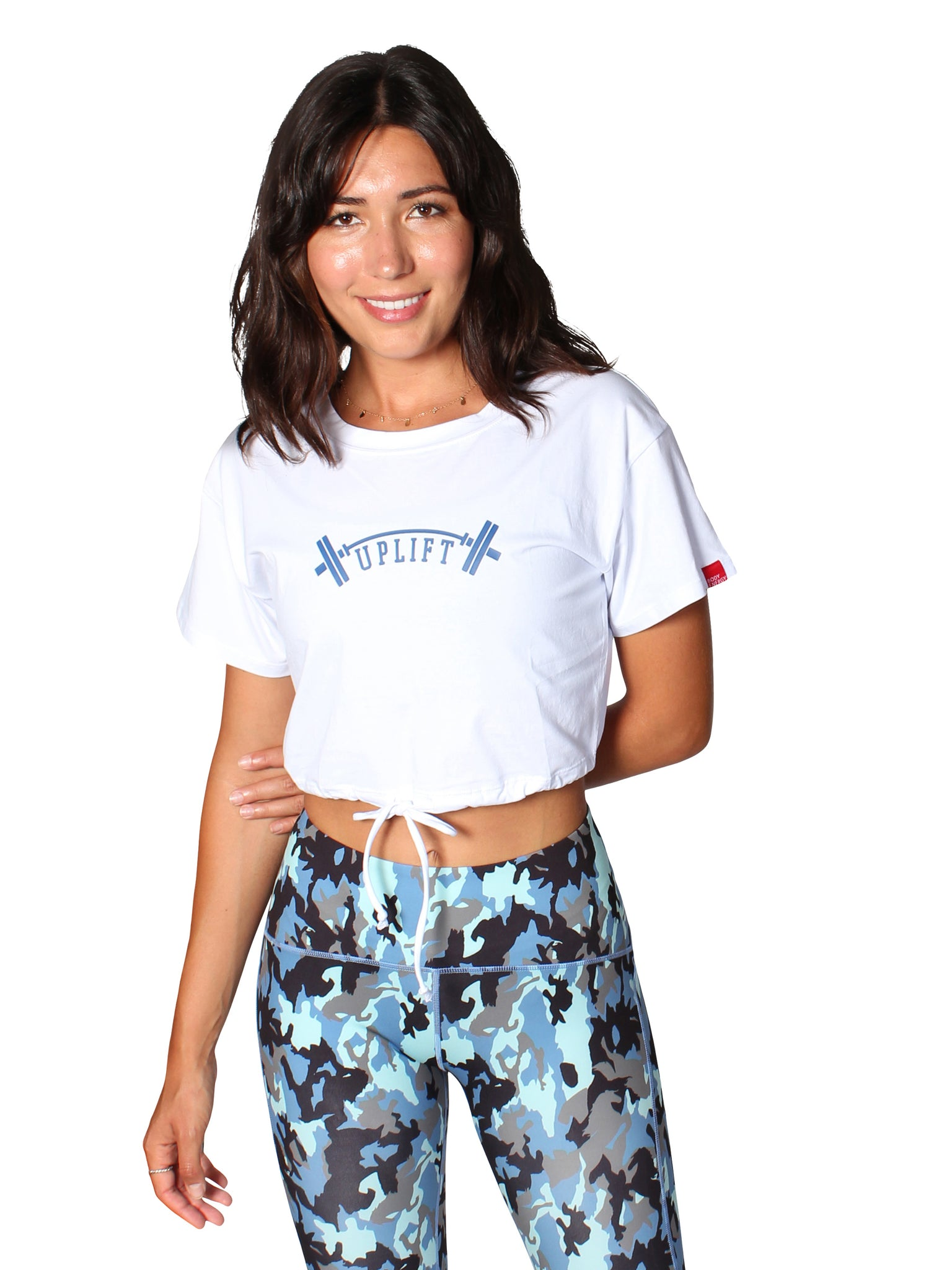 UPLIFT CROP DRAWSTRING T-SHIRT - WHITE
