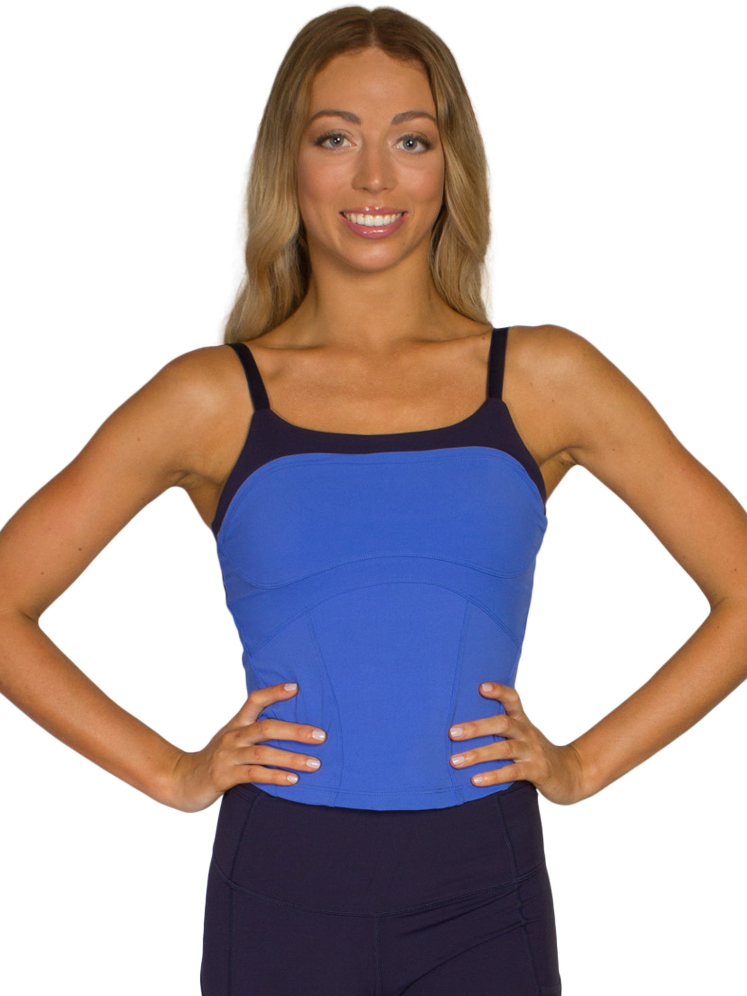 FEARLESS 2 IN 1 FITNESS CROP - ROYAL/NAVY
