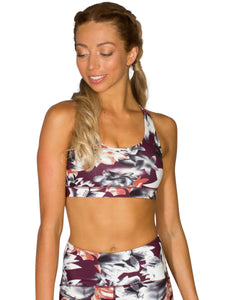 PURE FIT FLOWER SPORTS BRA- BURGUNDY