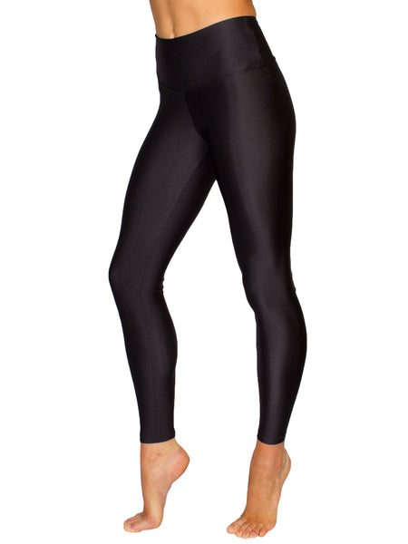 HIGH-RISE GLOSSY DISCO LEGGINGS - BLACK