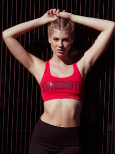 STRENGTH CRISS CROSS SPORTS BRA - RED