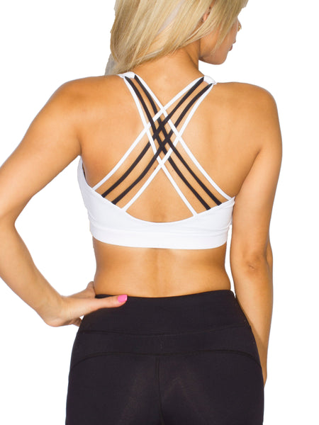 STRENGTH CRISS CROSS SPORTS BRA - WHITE
