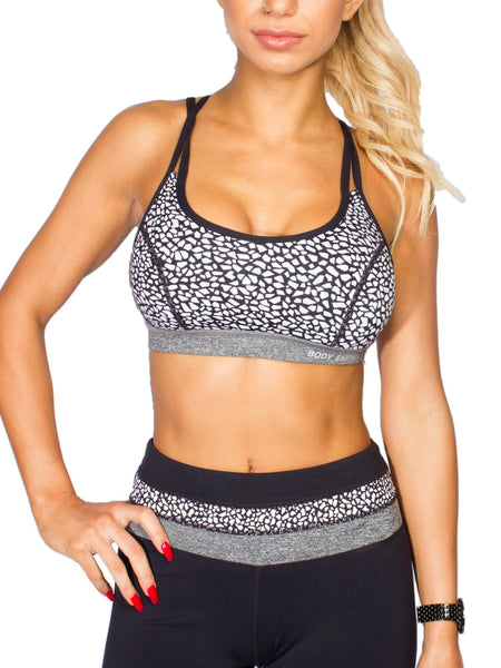 SHATTER PRINT SUPPORTIVE YOGA BRA