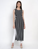 Texco Black and White Long Kurta With Shrug For Women