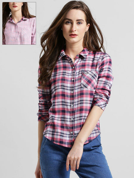 Texco Women Self Printed Reversible Shirt - Fashiano