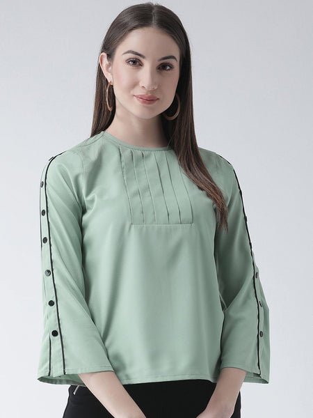 Tops - Texco Women  Detailed Button Sleeves Top