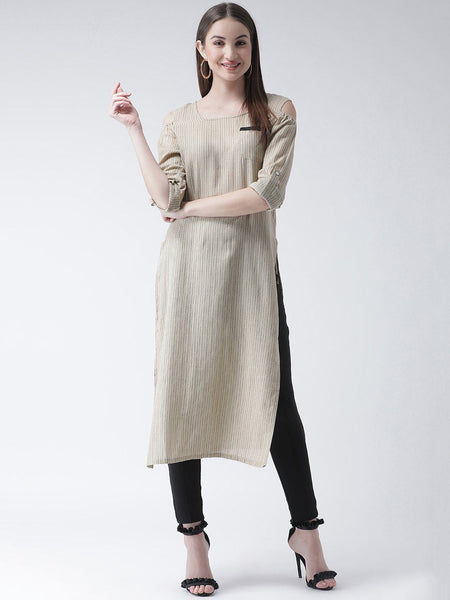 Kurta - Texco Women  Striped Cold Shoulder Kurta