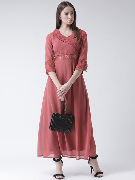Dresses - Texco Women  Shawl Collar Ruffle Lace Detailed Dress
