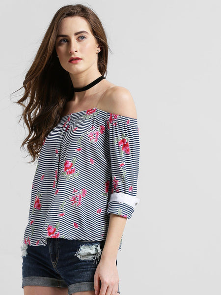 Texco Women Striped Off Shoulder Shirt - Fashiano
