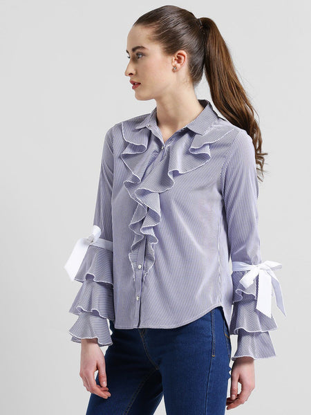 Shirts - Texco Women Striped Ruffled Tie Knot Sleeves Shirt