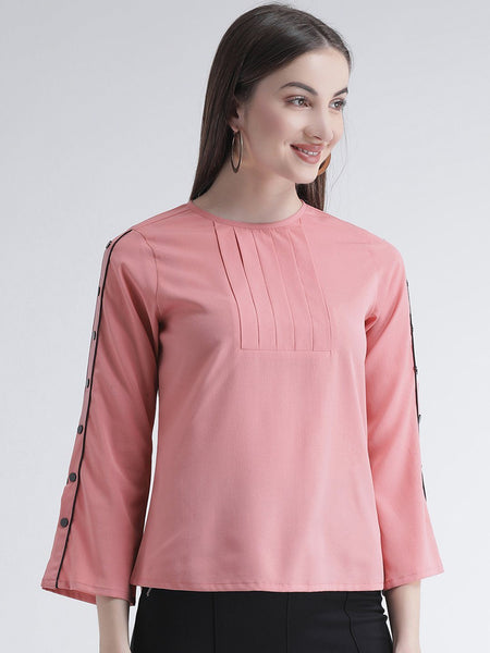 Texco Women  Detailed Button Sleeves Top - Fashiano