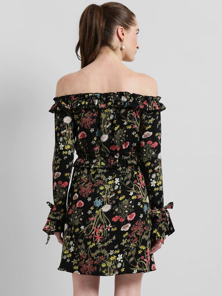 Texco Women Floral Printed Ruffled Sexy Bardot Dress - Fashiano