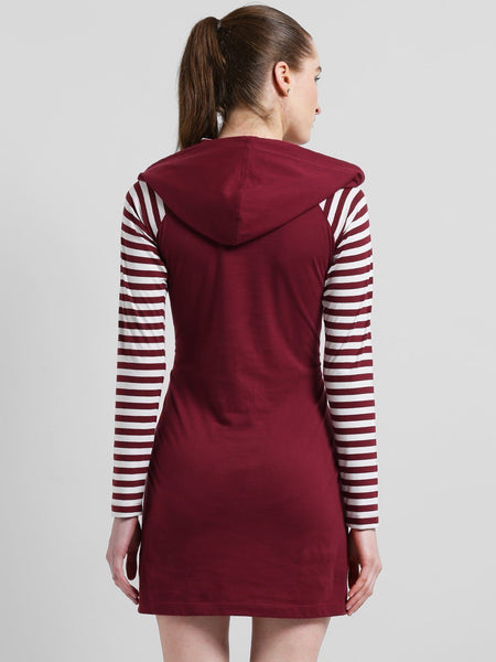 Texco Women Raglan Sleeve Hooded Front Tie up Grommets Detailed Dress - Fashiano
