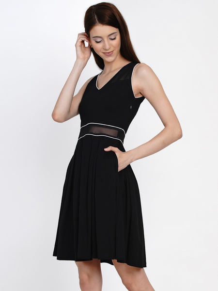 Texco  Fit and Flare Sleeve Less Dress For Women