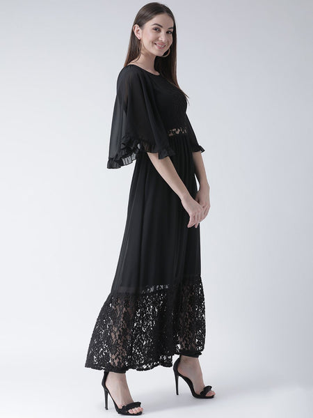 Texco Women  Butterfly Sleeves Ruffle Lace Detailed Dress - Fashiano
