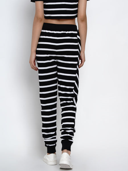 Texco Women Black and White Striped Track Pant