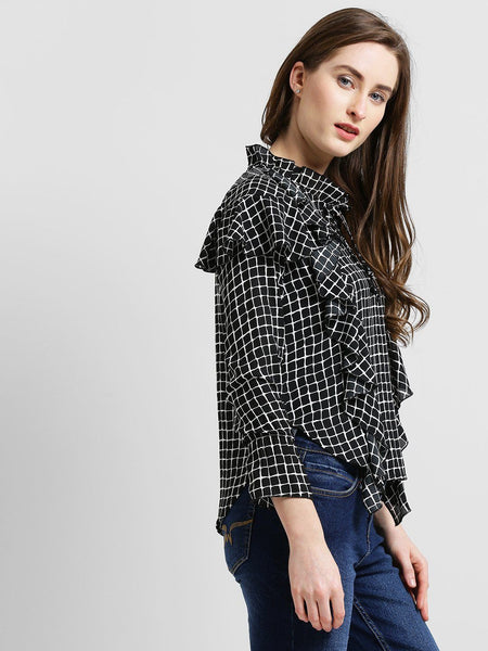 Texco Women Sheer Checkered  Top - Fashiano