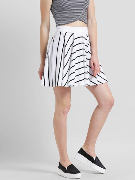 Texco Women Striped Short Flared Skirt - Fashiano