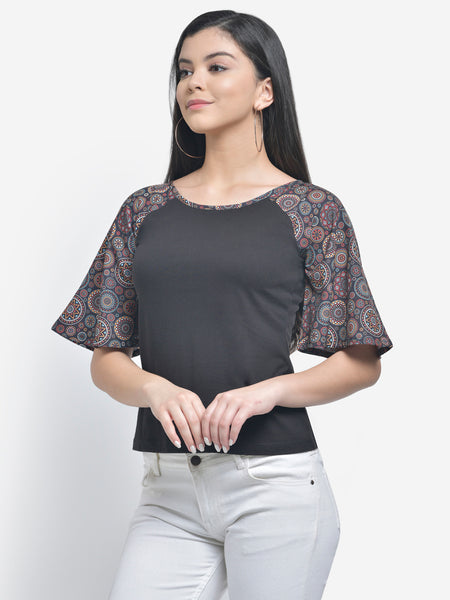 Texco Raglan Sleeve Black Top For Women