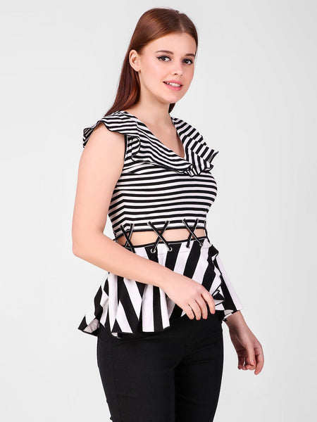 Texco Striped Stylish Women Peplum Top - Fashiano