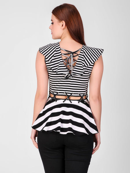 Tops - Texco Striped Stylish Women Peplum Top