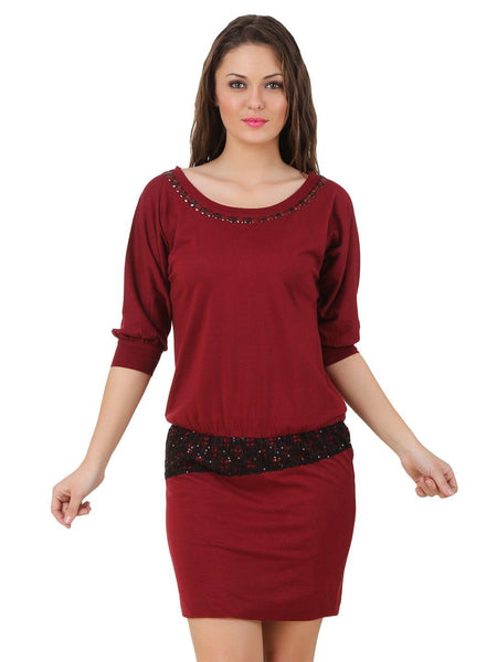 Texco Embellished Sequence Dolman Sleeve Dress - Fashiano