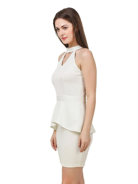 Texco Women's Cut Out Neck Off White Party Dress - Fashiano