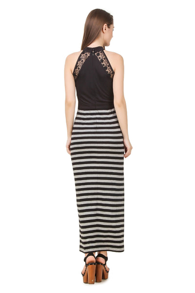 Dresses - Texco Women's Striped Lace Detailed Summer Maxi Dress
