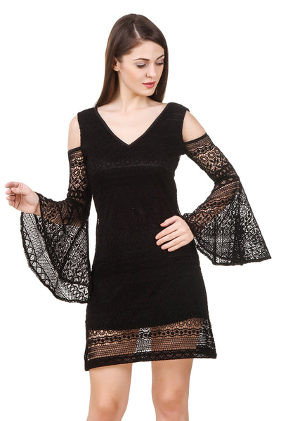 Dresses - Texco Women's Cold Shoulder Lace Party Dress