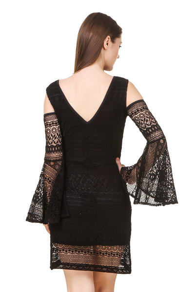 Texco Women's Cold Shoulder Lace Party Dress - Fashiano