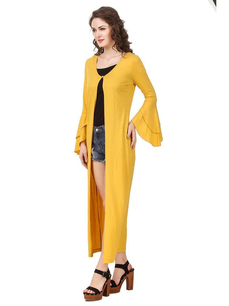 Shrugs - Texco Women's Double Layered Ruffled Sleeve Long Line Shrug